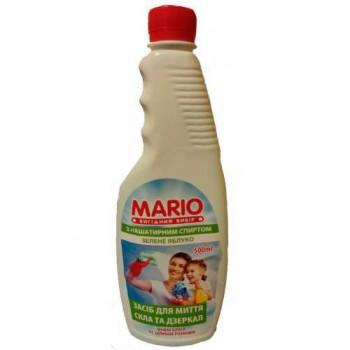 """Миючий засіб для скла та дзеркал """"Mario"""" 500 мл. ЗАПАСКА ЗЕЛЕНЕ ЯБЛУКО"""