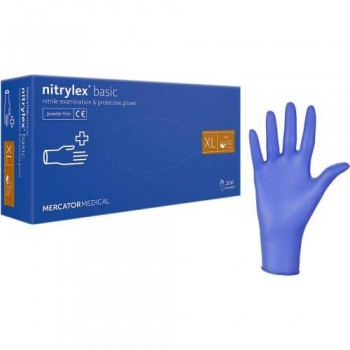 """Рукавички нітрилові """"Nitrylex"""" Basic 50 пар. СИНІ - XL"""
