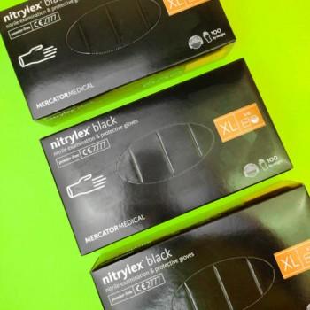 Рукавички чорні нітрилові не опудрені XL Nitrylex Black (50 пар)