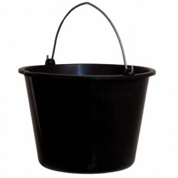 Відро пластикове чорне 12 л. МЕТАЛЕВА РУЧКА