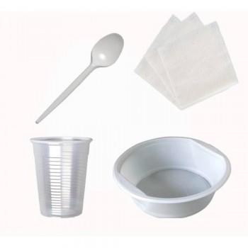 Набір №2 на10 персон (стакан 180 мл, ложка, миска, серветки)