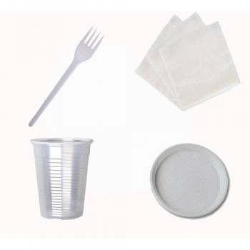 Набір № 3 на10 персон (стакан 200 мл, виделка, тарілка, серветки)