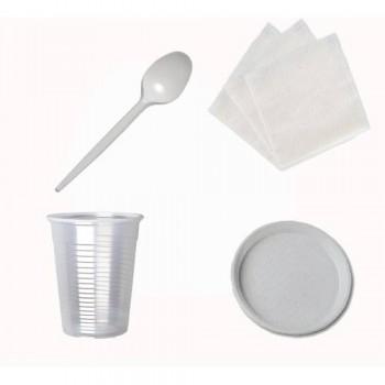 Набір №4 на10 персон (стакан 200 мл, ложка, тарілка, серветки)