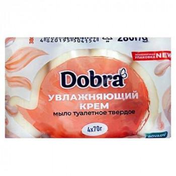 """Туалетне мило 4*70 г """"Dobra"""" ЗВОЛОЖУЮЧИЙ КРЕМ (екопак)"""