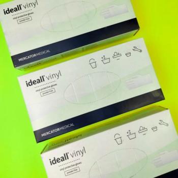 """Рукавички вінілові """"Ideal Vinyl"""" 50 пар. БІЛІ НЕ ОПУДРЕНІ - М"""