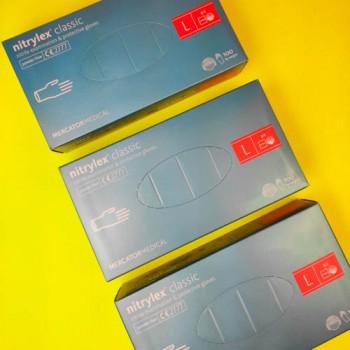 Рукавички нітрилові (L) Nitrylex Basic СИНI (50 пар)