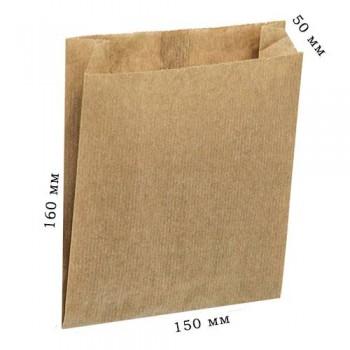 Пакет паперовый САШЕ БУРИЙ (100  шт.) 160*150*50 мм