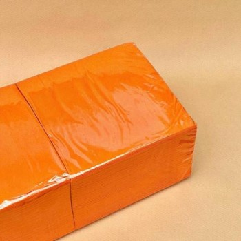 Серветки банкетні 33х33 см 1/4 2 шар. 200 шт. ОРАНЖЕВА NL 548
